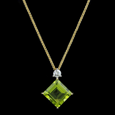 18K Yellow Gold Peridot and Diamond Pendant