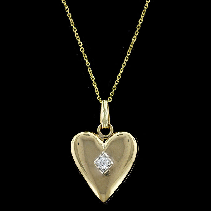 14K Yellow Gold Diamond Heart Locket