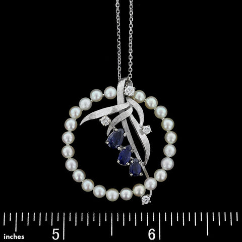 14K White Gold Pearl, Sapphire and Diamond Pendant
