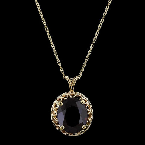 14K Yellow Gold Garnet Pendant