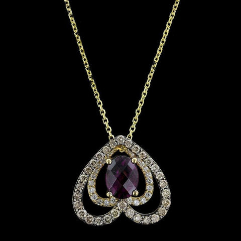 Levian 14K Yellow Gold Garnet and Diamond Pendant