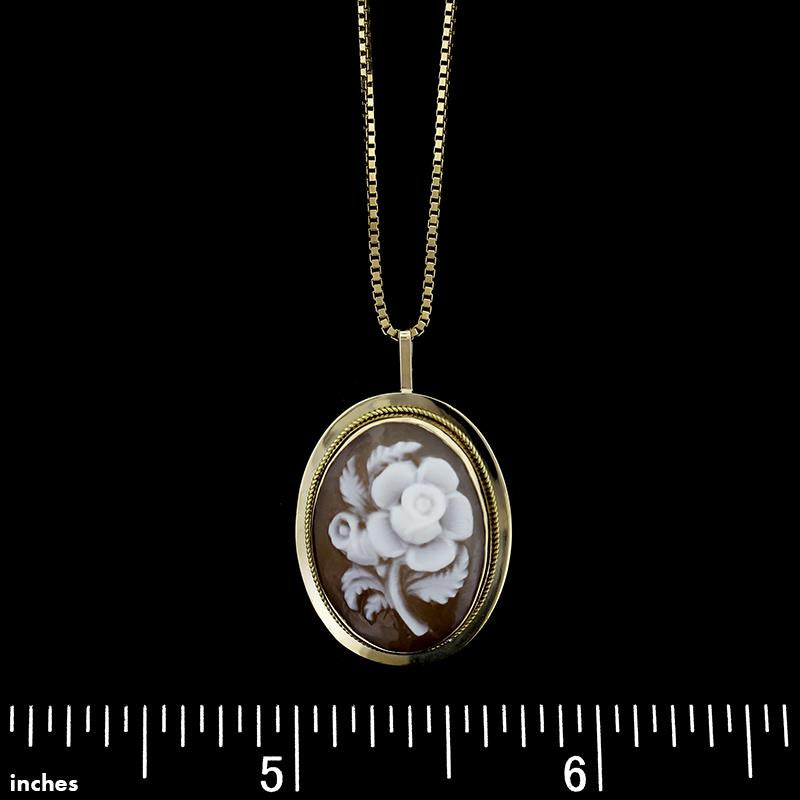 14K Yellow Gold Cameo Rose Pendant Pin