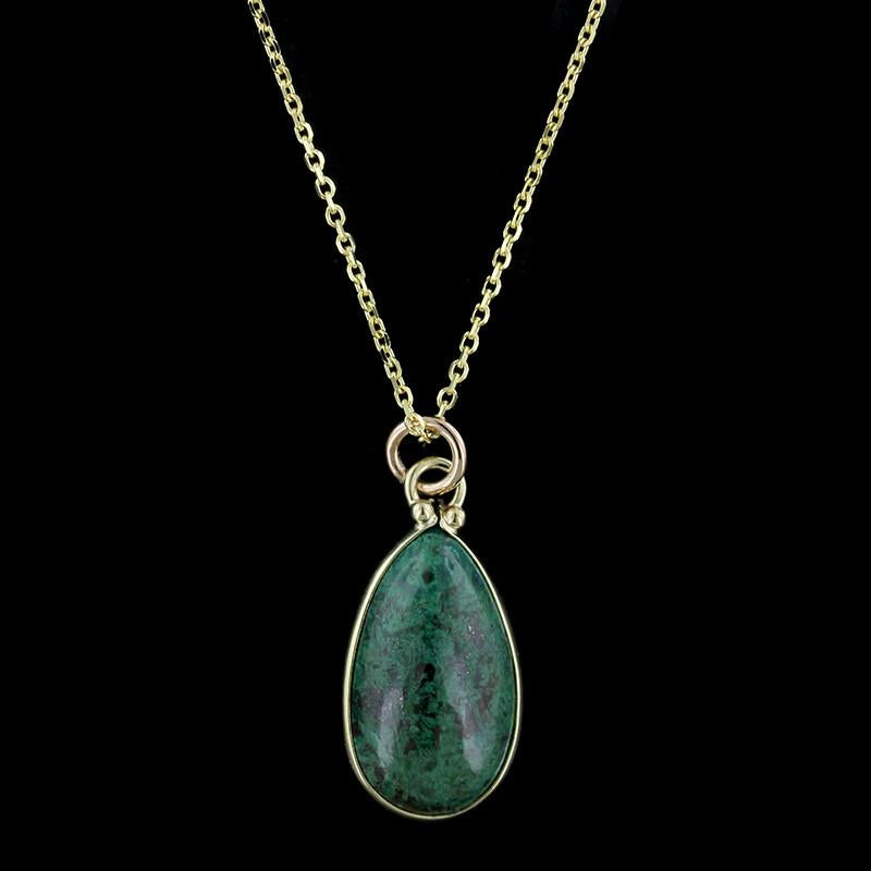 14K Yellow Gold Azurite Malachite Pendant
