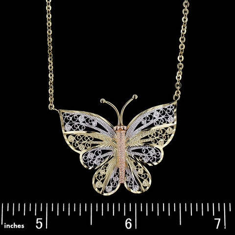14K Tricolor Gold Butterfly Pendant
