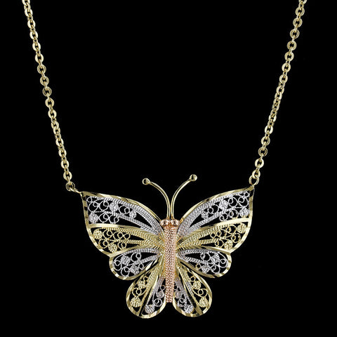 14K Ticolor Gold Butterfly Pendant