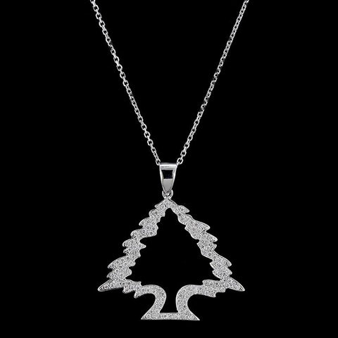 14K White Gold Diamond Cedar of Lebanon Tree Pendant