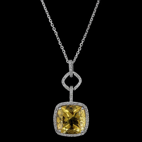 14K White Gold Citrine and Diamond Halo Pendant