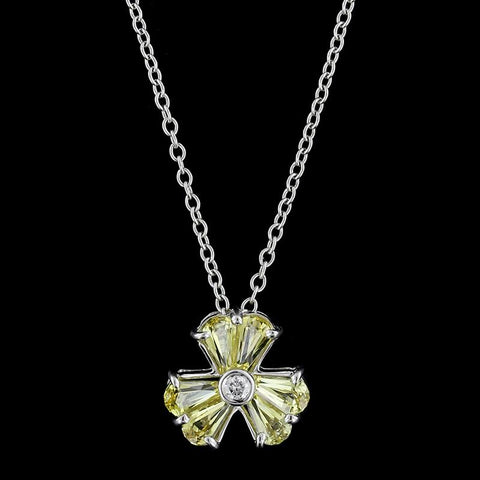18K White Gold Yellow Sapphire and Diamond Pendant