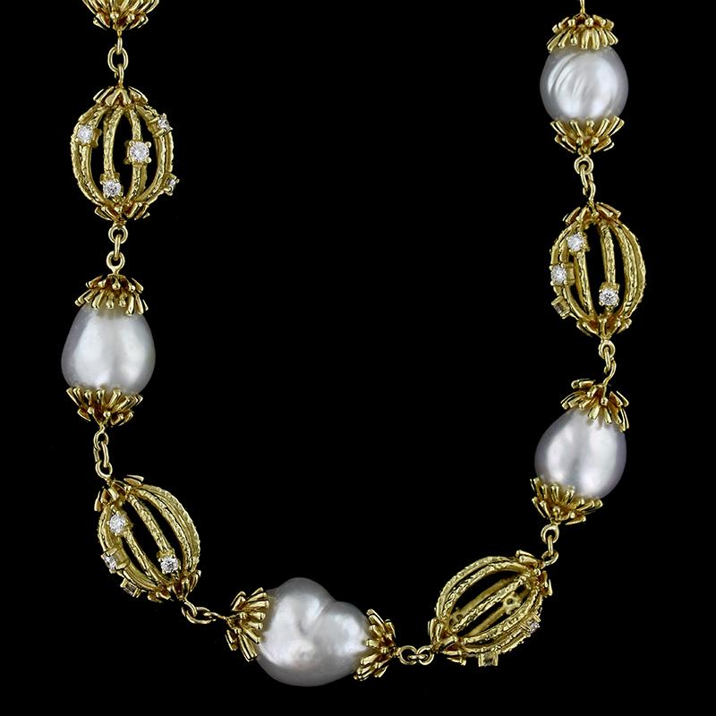 18K Yellow Gold Freshwater Pearl and Diamond Necklace