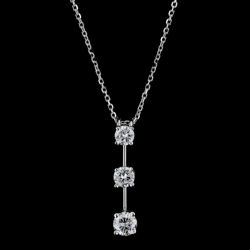 14K White Gold Diamond Three Stone Pendant