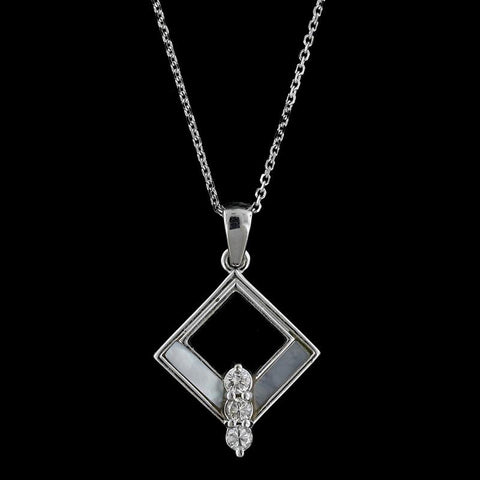 14K White Gold Diamond, Black Onyx and Mother of Pearl Inlayed Pendant