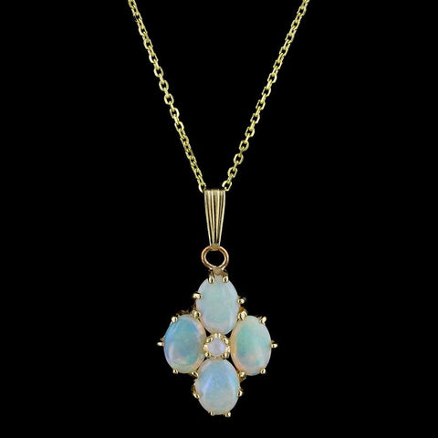 14K Yellow Gold Opal Pendant