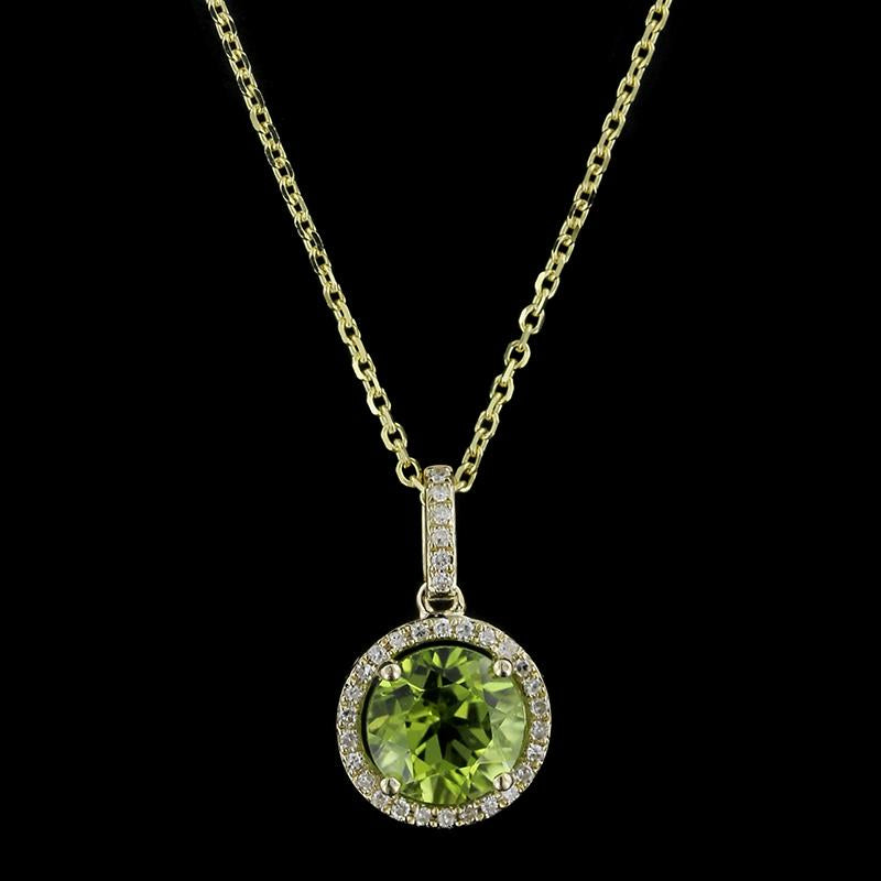 14K Yellow Gold Peridot and Diamond Halo Pendant