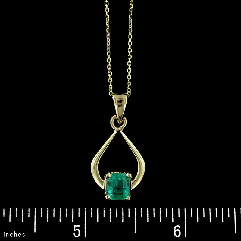 14K Yellow Gold Emerald Pendant