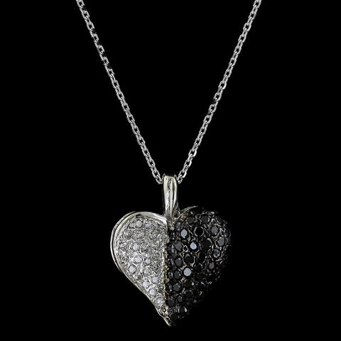 14K White Gold Estate Black Diamond and Diamond Heart Pendant