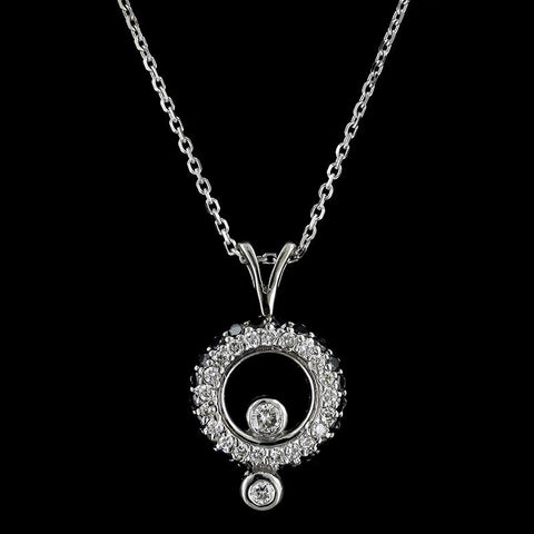 14K White Gold Estate Black Diamond and Diamond Circle Pendant