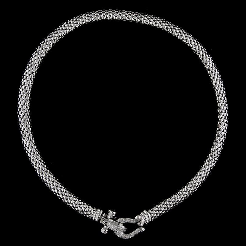 14K White Gold Diamond Buckle Necklace