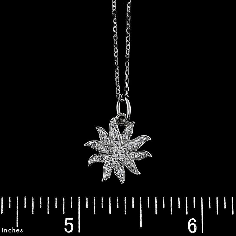 14K White Gold Diamond Sunburst Pendant