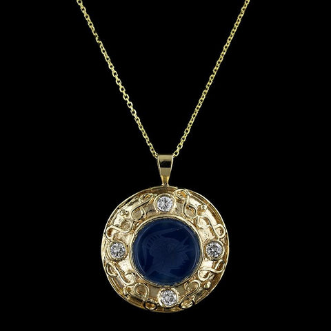 14K Yellow Gold Glass Intaglio and Diamond Pendant