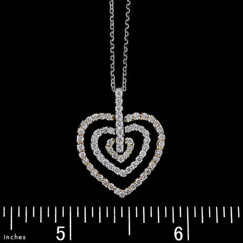 14K Bicolor Gold Diamond Heart Pendant