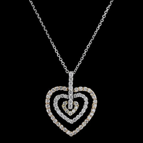 14K Bicolor Gold Estate Diamond Heart Pendant