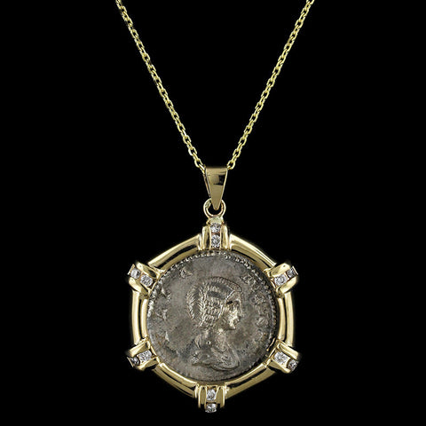 14K Yellow Gold, Silver Ancient Style Coin and Diamond Pendant