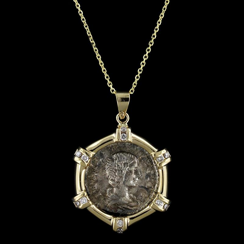 14K Yellow Gold and Silver Ancient Style Coin and Diamond Pendant