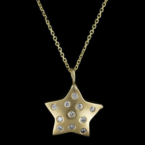 14K Yellow Gold Estate Diamond Star Pendant