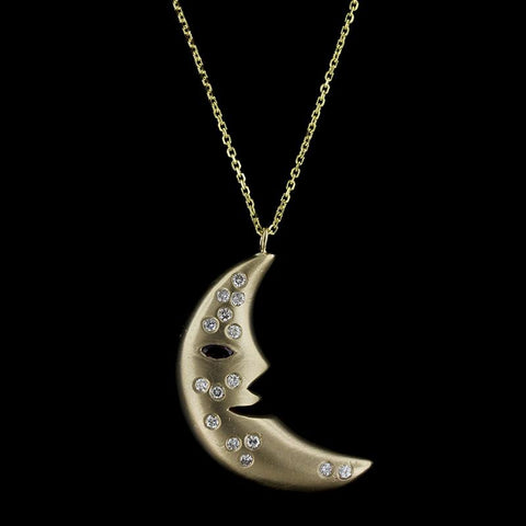 14K Yellow Gold Ruby and Diamond Moon Pendant