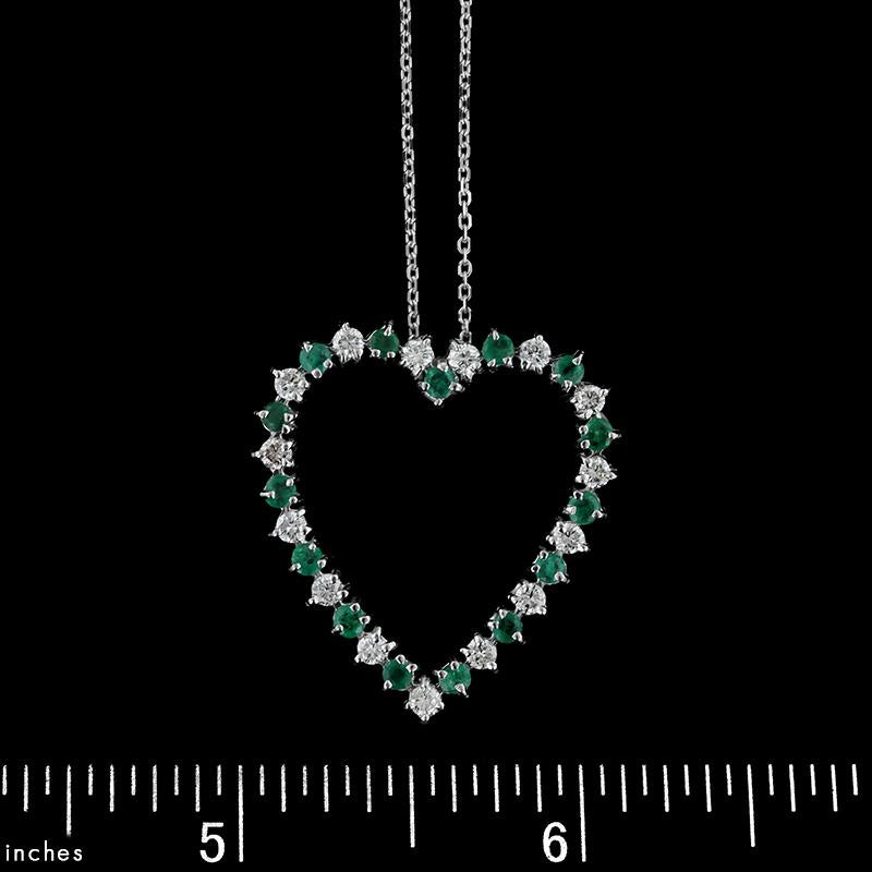 14K White Gold Emerald and Diamond Heart Pendant