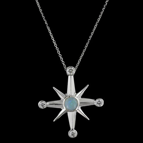 14K White Gold Opal and Diamond Northern Star Pendant