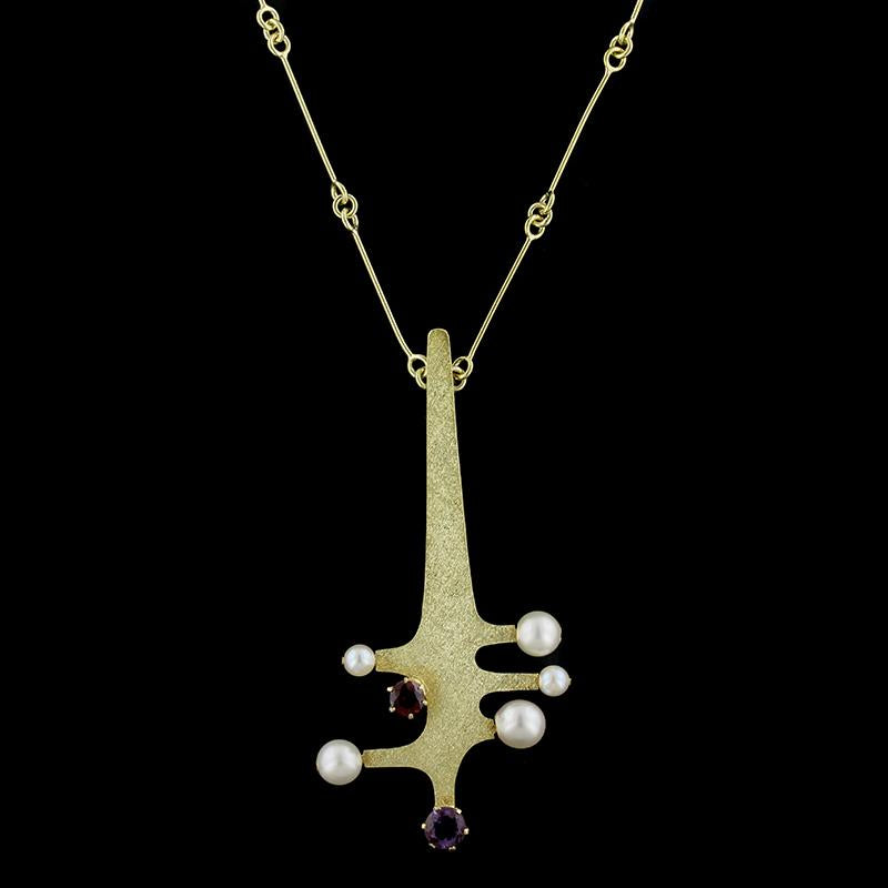 18K Yellow Gold Amethyst, Garnet and Cultured Pearl Pendant