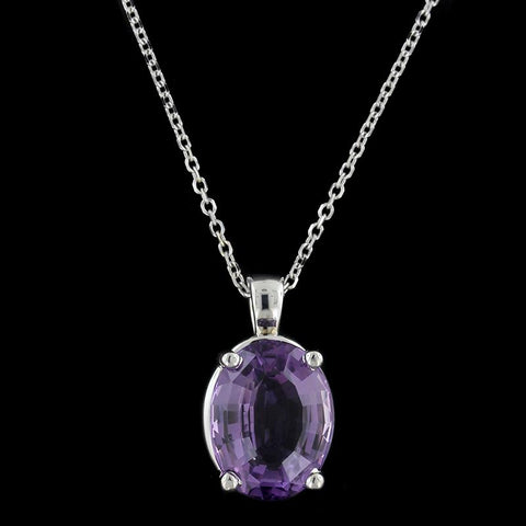 14K White Gold Estate Amethyst Pendant