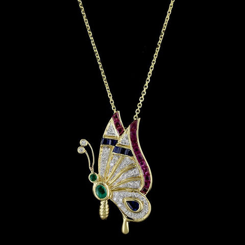 18K Yellow Gold Gem-set Butterfly Pendant