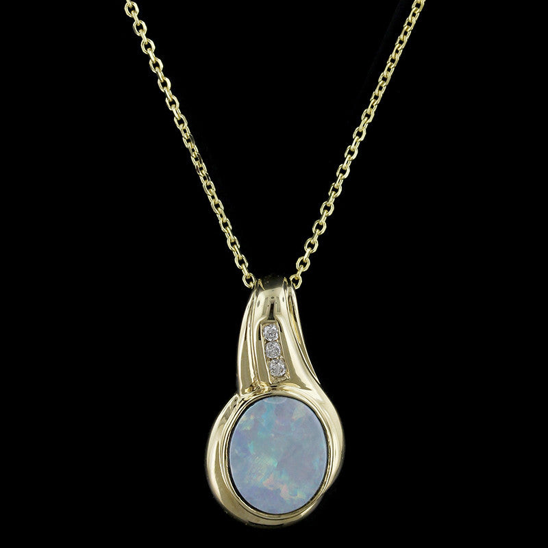 14K Yellow Gold Opal Doublet and Diamond Pendant