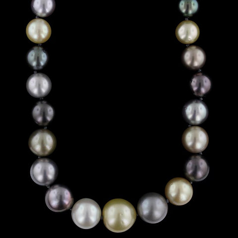 Multi Colored Estate Cultured South Sea and Cultured Tahitian Pearl Necklace