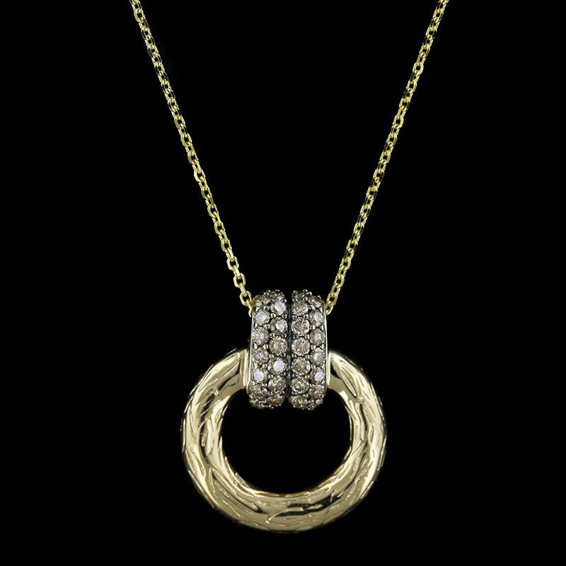 14K Yellow Gold Circle Pendant with Brown Diamonds