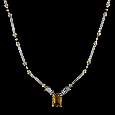 14K Two-Tone Gold Estate Citrine and Diamond Necklace