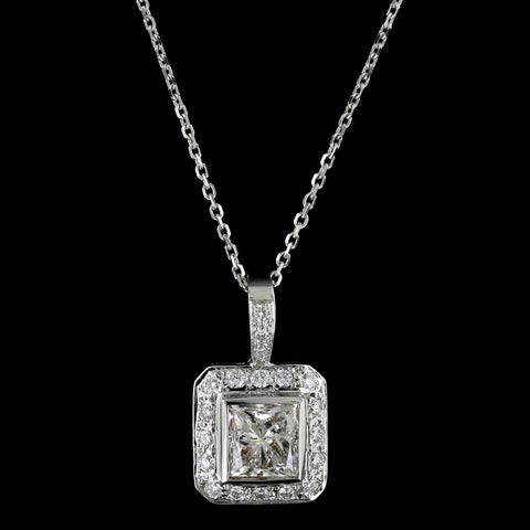 14K White Gold Diamond Solitaire Halo Pendant
