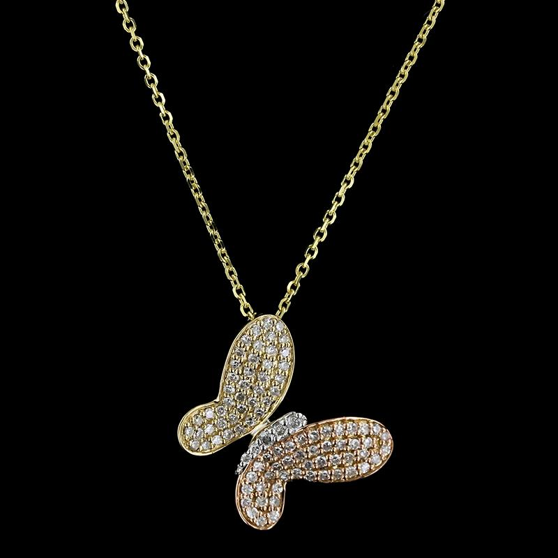 14K Tricolor Gold Diamond Butterfly Pendant