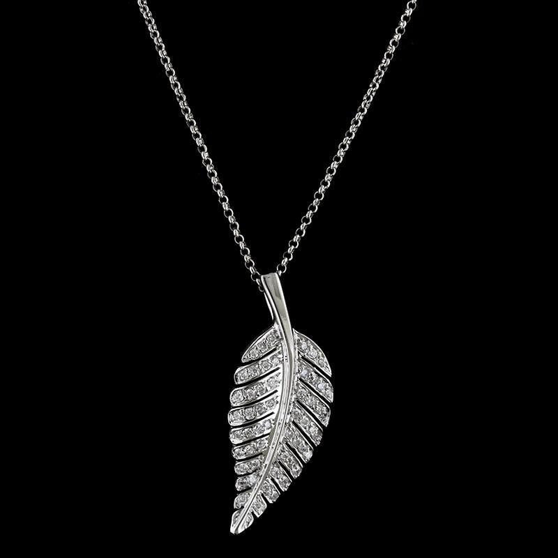 Jennifer Meyer 18K White Gold Leaf Pendant