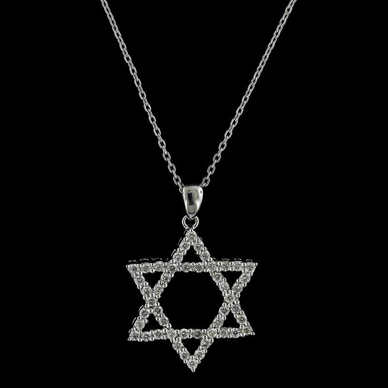 18K White Gold Star of David Pendant