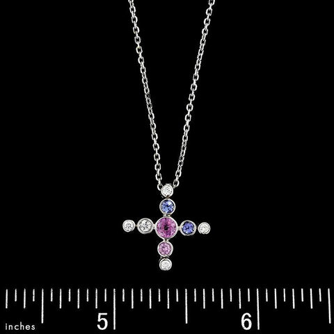 18K White Gold Colored Sapphire and Diamond Cross Pendant