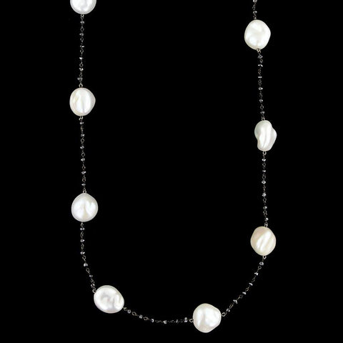 Yvel 18K White Gold Baroque Freshwater Pearl and Black Diamond Bead Necklace