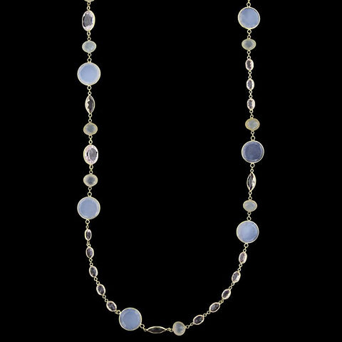 18K Yellow Gold Chalcedony and Rose Quartz Necklace