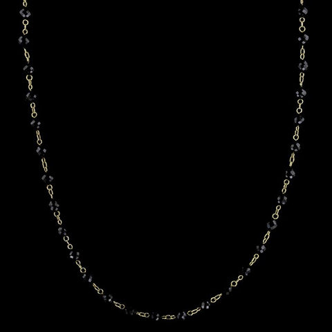 18K Yellow Gold Black Spinel Bead Necklace