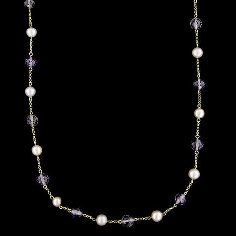 18K Yellow Gold Amethyst and Pearl Bead Necklace