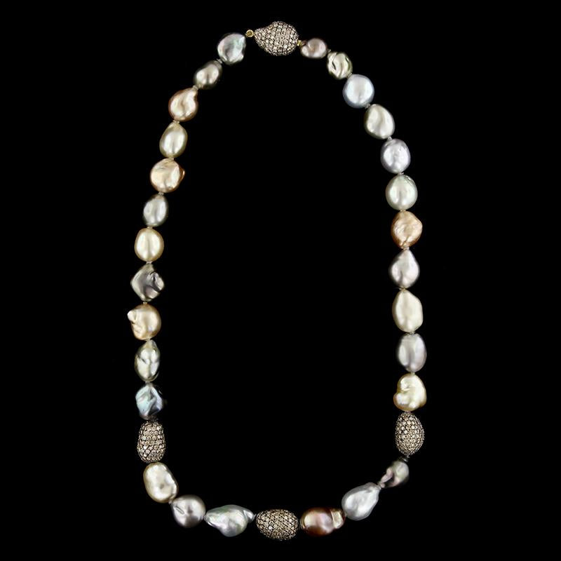 Yvel 18K Yellow Gold Baroque Pearl and Cognac Diamond Necklace