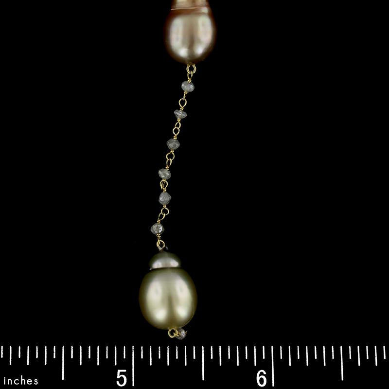 Yvel 18K Yellow Gold Colored Baroque Pearl and Diamond Bead Necklace