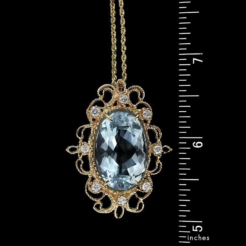 14K Yellow Gold Aquamarine and Diamond Pendant